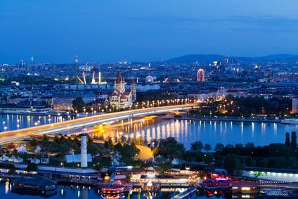 Wien, Panorama am Abend