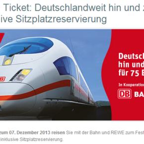 REWE Bahn Ticket - 75 Euro quer durch Deutschland hin und zurück