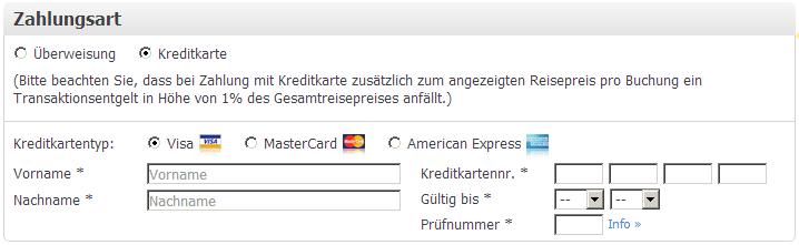 Weg.de Zahlungsarten bei Reisebuchung
