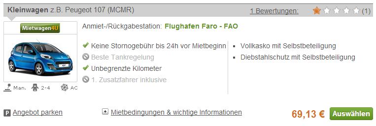 Faro Mietwagen