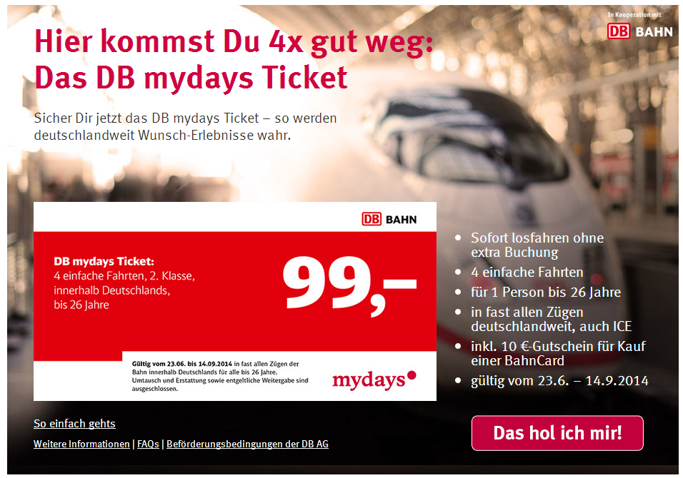 DB Mydays Zugticket