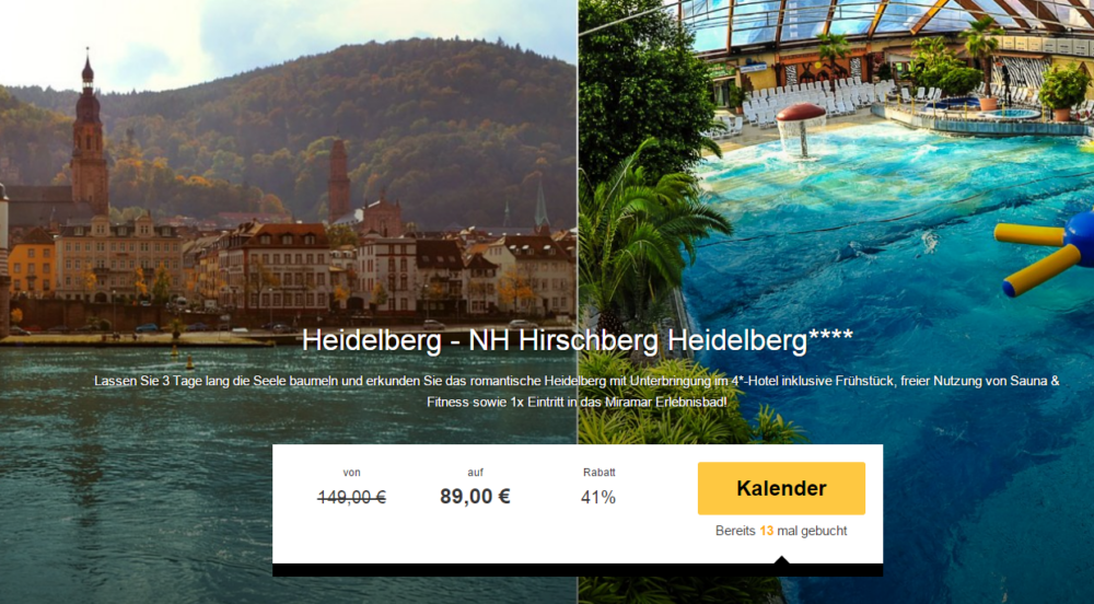 NH Hotel Heiderlberg mit Erlebnisbad-Eintritt