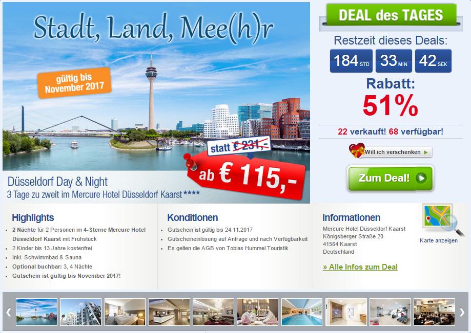 3 Tage Düsseldorf Mercure Hotel