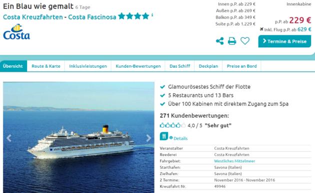 6 Tage Mittelmeer Kreuzfahrt Schnäppchen