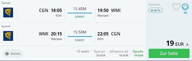 Flüge Warschau Schnäppchen