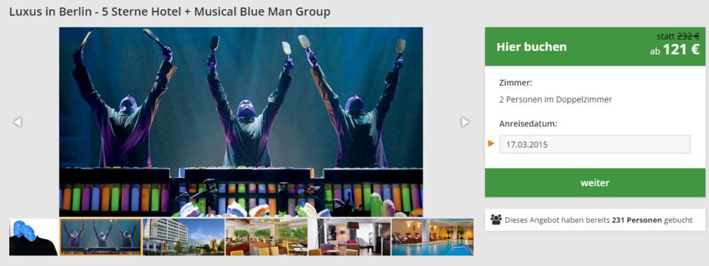 Berlin Blue Man Group mit Hotel