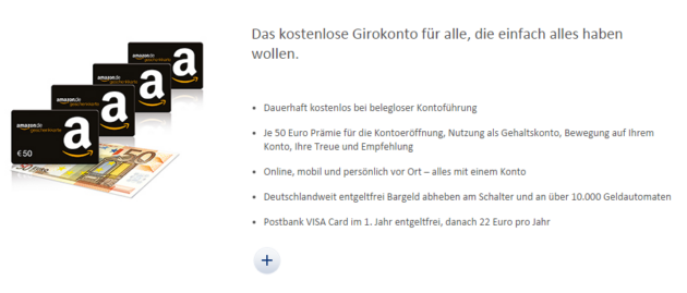 Postbank 250€ Amazon Gutschein