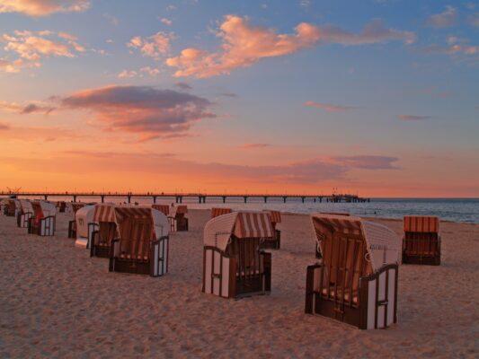 Möwen am Sandstrand der Ostsee