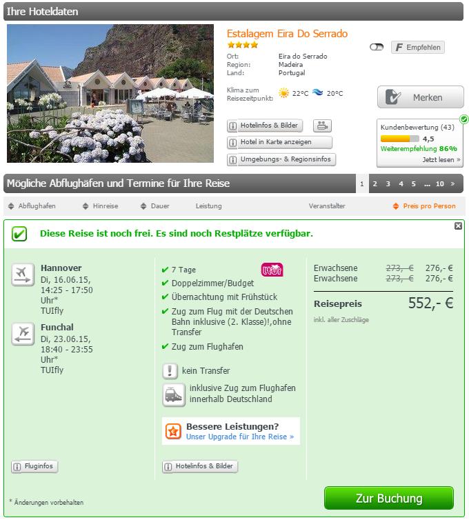 1 Woche Madeira Urlaubsschnäppchen