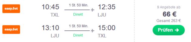 Flug Berlin Ljubljana