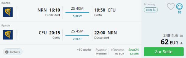 Flug Düsseldorf Korfu