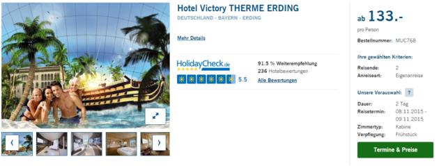 wellness in der therme erding victory hotel mit fr hst ck ab nur 133. Black Bedroom Furniture Sets. Home Design Ideas