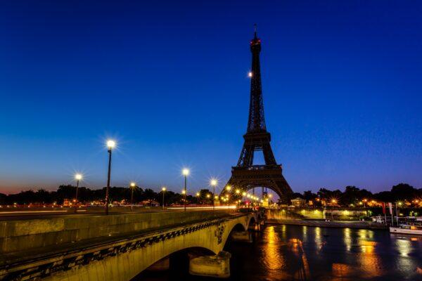Paris Frankreich Eiffelturm Nacht