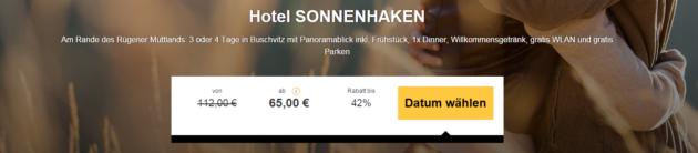 3 Tage Rügen Schnäppchen Hotel Sonnenhaken