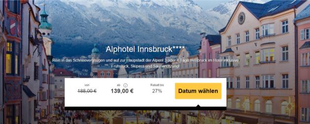 Alpenhotel Innsbruck Angebot mit Skipass