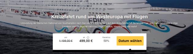 Lastminute Kreuzfahrt 7 Tage Westeuropa
