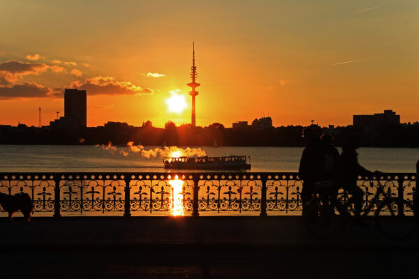 Hamburg Alster Sunset Dampfer