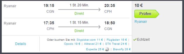 Kopenhagen Flug Schnäppchen