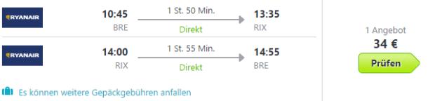 Flug nach Riga Angebot
