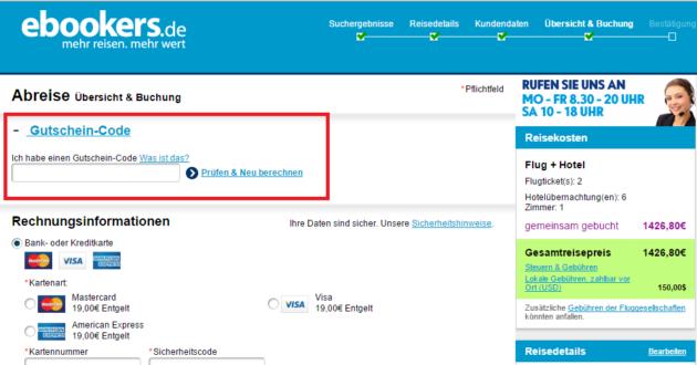 ebookers Gutschein Step 1
