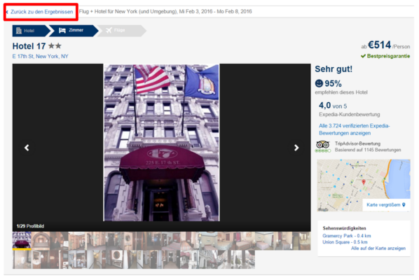 Expedia Anleitung Hotel New York Reisedatum ändern