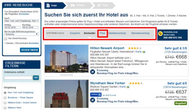 Expedia Hotel Ergebnisse günstigster Preis