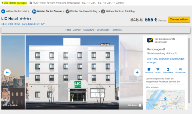 Expedia alle Hotels