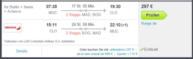 Flüge Kolumbien ab Deutschland