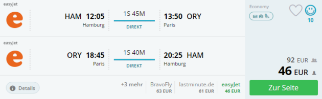 Flug Paris Schnäppchen
