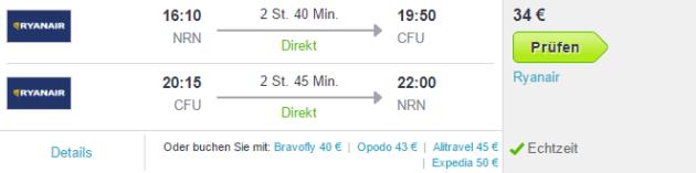 Flüge nach Korfu günstig
