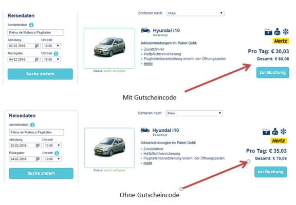 TUI Cars Gutschein Code einlösen
