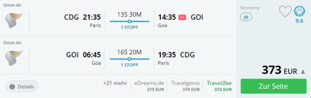 Flüge Indien nach Goa