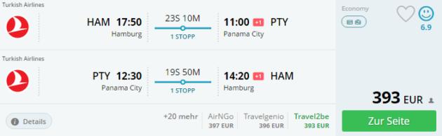 Hamburg nach Panama City