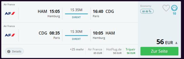 Paris Flüge mit AirFrance ab Hamburg