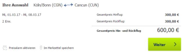 Flug Cancun Schnäppchen