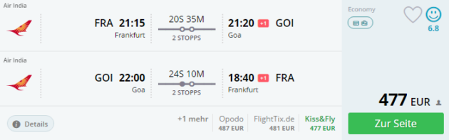 Frankfurt nach Goa