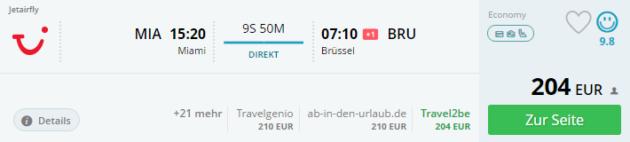 Miami nach Brüssel Flug