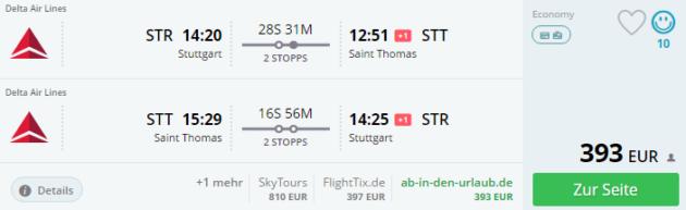 Stuttgart nach Saint Thomas