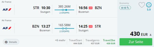Stuttgart nach Yellowstone Flug