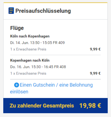 Flüge Kopenhagen Deal