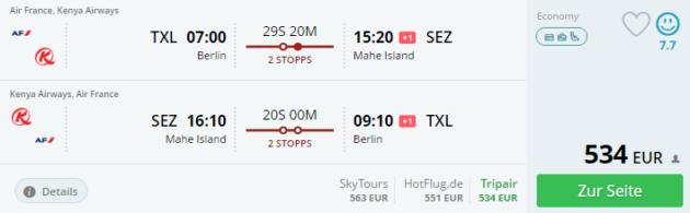 Flug Berlin zu den Seychelles
