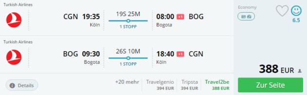 Flug Köln nach Bogota