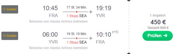 Frankfurt nach Vancouver