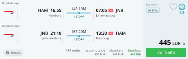 Hamburg nach Johannesburg