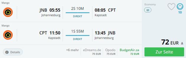 Johannesburg nach Kapstadt
