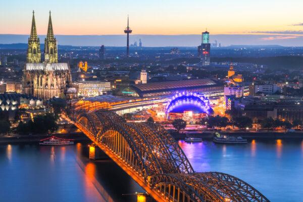 Köln Panorama Dämmerung