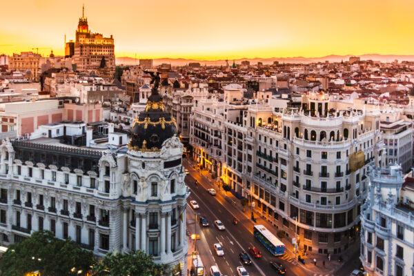 Madrid Panorama auf die Gran Via
