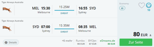 Sydney nach Melbourne