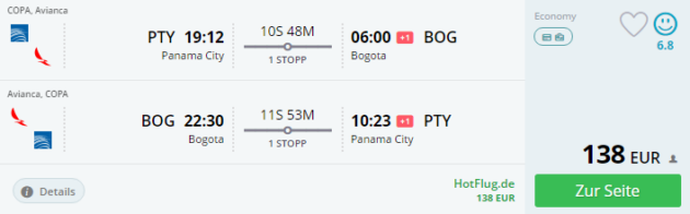 Panama City nach Bogota