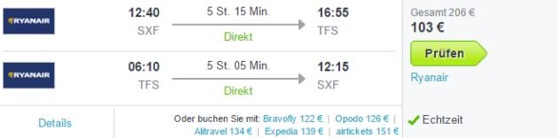 Ryanair Flüge Teneriffa